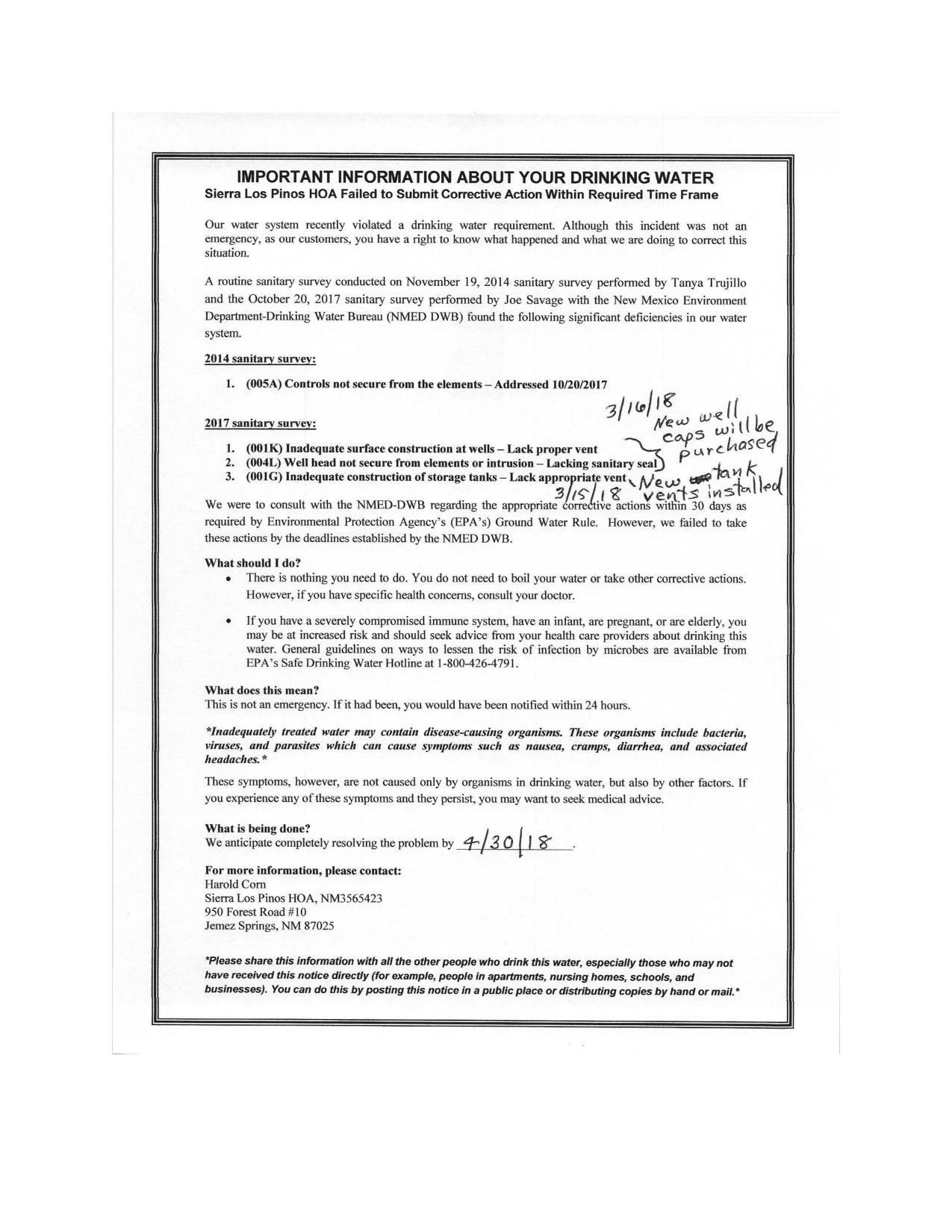 2017 Nmed Sanitary Survey 120 Day Certification For Slppoa